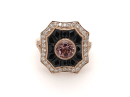 Estate Style Pink Tourmaline Ring with Diamond and Onyx image 2