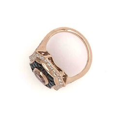 Estate Style Pink Tourmaline Ring with Diamond and Onyx image 3