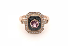 Estate Style Pink Tourmaline Ring with Onyx and Diamond image 2