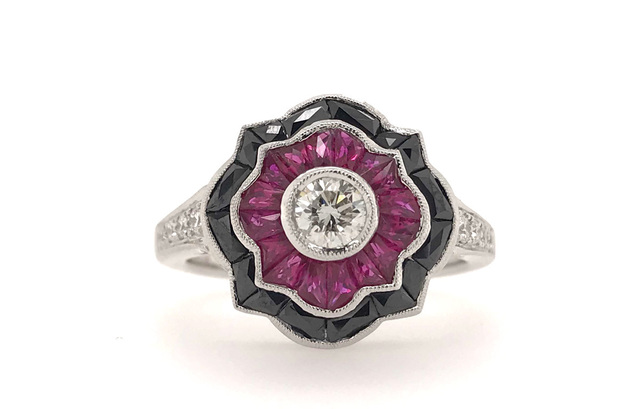 Estate Style Diamond Ring with Ruby and Onyx image 2