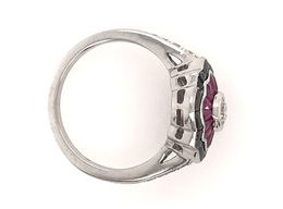 Estate Style Diamond Ring with Ruby and Onyx image 3