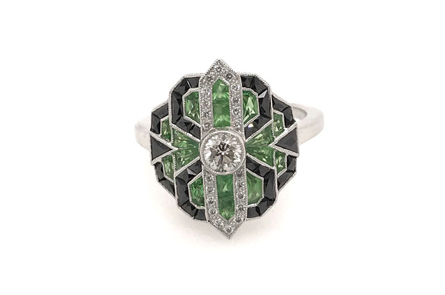 Estate Style Diamond Ring with Tsavorite and Onyx image 2