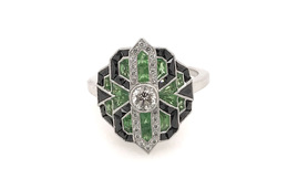 Estate Style Diamond Ring with Tsavorite and Onyx image 1