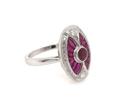 Estate Style Ruby Oval Ring with Diamonds image 1