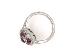 Estate Style Ruby Oval Ring with Diamonds image 3