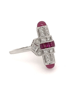 Estate Style Ruby and Diamond Barrel Ring image 2