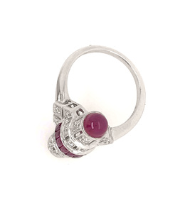 Estate Style Ruby and Diamond Barrel Ring image 3