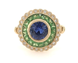 Estate Style Sapphire ring with Diamonds and Tsavorite image 1