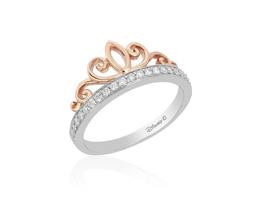 Princess Silver/10K Rose Gold Tiara Ring image 1
