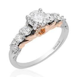 Belle 14Kt White/Rose Gold Rose Bridal Ring image 2