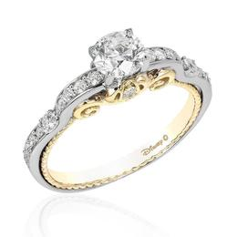 Cinderella 14k White /Yellow Gold Carriage Bridal Ring image 2
