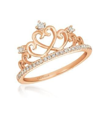 LeVian Heart Strawberry Gold Crown Ring with Vanilla Diamonds image 2