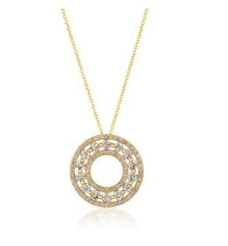 LeVian Honey Gold Circle Pendant with Nude Diamonds image 2