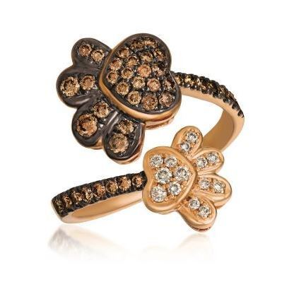 LeVian Strawberry Gold Double Paw Chocolate and Vanilla Diamond Ring image 2