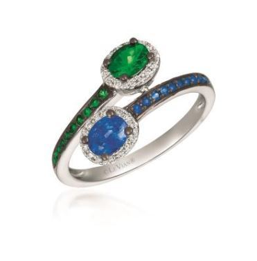 LeVian Two Stone Ring with Green Garnets Blueberry Sapphires and Vanilla Diamonds image 2