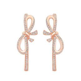 Snow White 14Kt Rose Gold Bow Hoop Earrings image 2