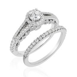 Ariel 14Kt White Gold Bridal Ring Set image 2