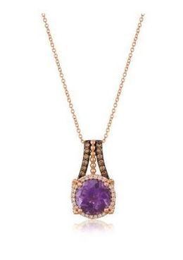 LeVian Grape Amethyst set in Strawberry Gold with Chocolate and Vanilla Diamonds image 2