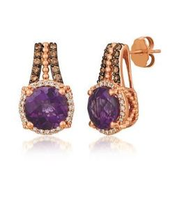LeVian Strawberry Gold Ring Earrings set with a 3ct Grape Amethyst and Vanilla Diamonds and Chocolate Diamonds image 2