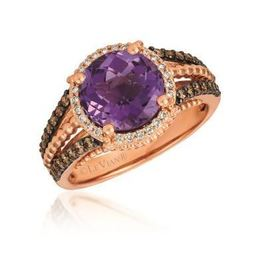 LeVian Grape Amethyst Ring set in Strawberry Gold with Chocolate and Vanilla Diamonds image 2