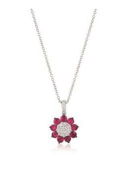 LeVian Vanilla Diamond Pendant with Passion Rubies Surrounding it in Vanilla Gold image 2
