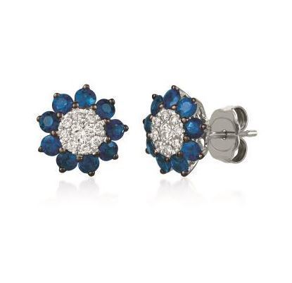 LeVian Earrings with Vanilla Diamonds in the center and a Blueberry Sapphire Halo. image 2