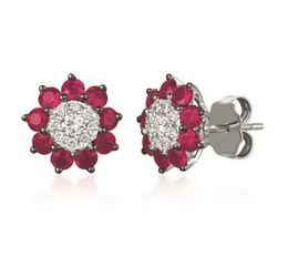 LeVian Earrings with Passion Rubies Surrounded Vanilla Diamonds image 2