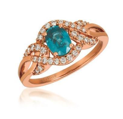 LeVian Blueberry Zircon Ring in Strawberry Gold with Vanilla Diamonds image 2