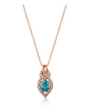 LeVian Blue Zircon Pendant set in Strawberry Gold with Vanilla Diamonds image 2