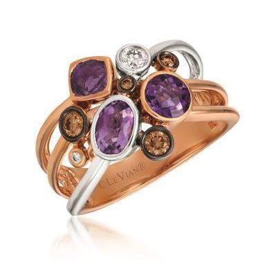 LeVian Grape Amethyst Ring with Chocolate and Vanilla Diamonds image 2