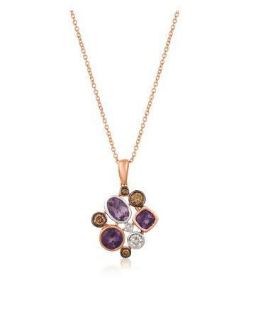 LeVian Grape Amethyst Pendant with Chocolate and Vanilla Diamonds image 2