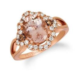 LeVian Peach Morganite Ring set in Strawberry Gold with Chocolate and Nude Diamonds image 2