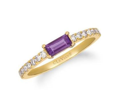 LeVian Grape Amethyst Ring with Nude Diamonds set in Honey Gold image 2