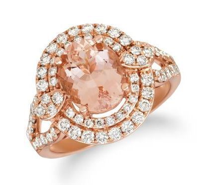 LeVian Peach Morganite Ring with a Nude Diamond Double Halo image 2