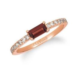 LeVian Pomegranate Garnet Ring with Nude Diamonds on the band image 2