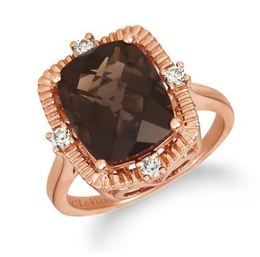 LeVian Chocolate Quartz Ring with Nude diamonds set in Strawberry Gold image 2
