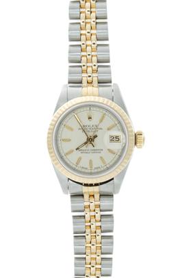 Rolex Pre - Owned Ladies 26mm Steel and Gold Watch with Ivory Jubilee Dial image 2