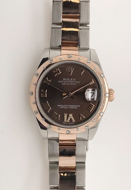 Rolex Pre- Owned Diamond Bezel with Chocolate Arabic Dial image 2
