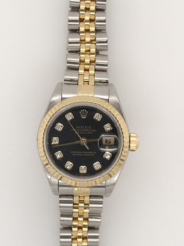 Rolex Pre - Owned Two - Tone with Black Diamond Dial  image 2