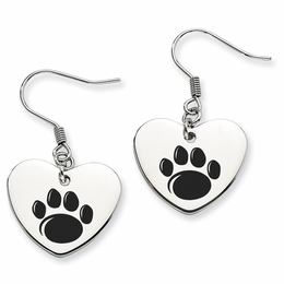 72498f6c5 Penn State Nittany Lion Paw Heart Shape Drop Earrings image 2