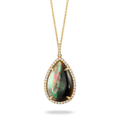 Luna Black Mother of Pearl Teardrop Pendant image 2
