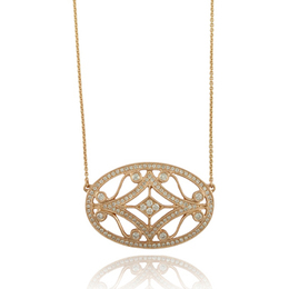 Fancy Yellow Gold Oval Diamond Pendant image 2