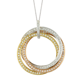 Tri-Color Diamond Circle Pendant image 2
