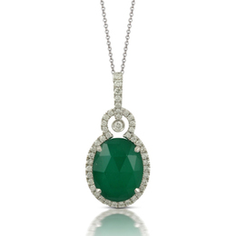 Stunning Green Agate and Diamond Pendant image 2