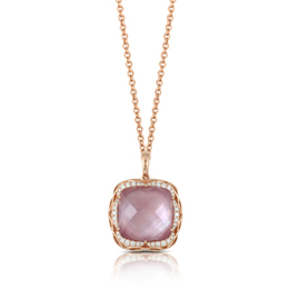 Viola Amethyst with Pink Mother of Pearl Cushion Pendant image 2