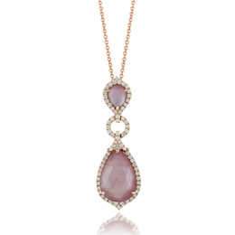 Viola Amethyst and Pink Mother of Pearl Drop Pendant image 2