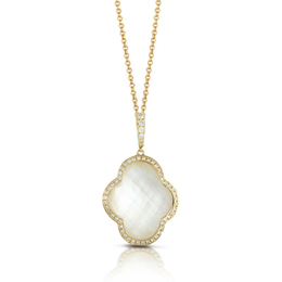 White Orchid White Mother of Pearl and Diamond Pendant image 2