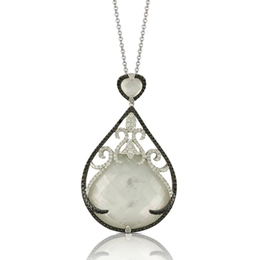 White Orchid Pendant with Black and White Diamonds image 2