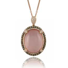 Bella Rosa Rose Quartz Pink Mother of Pearl Pendant  image 2