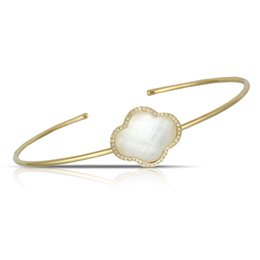 White Orchid Mother of Pearl Bangle Bracelet image 2